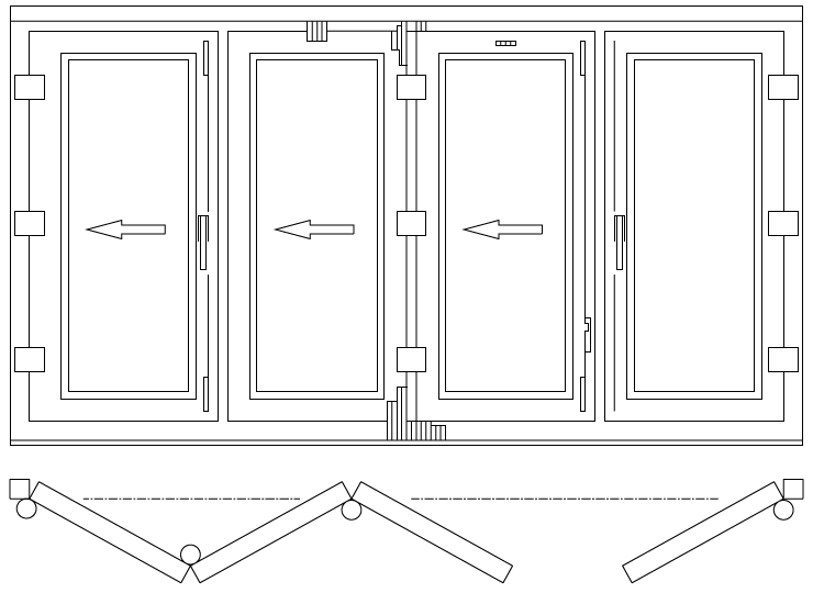 Drzwi balkonowe składane/harmonijkowe schemat 431
