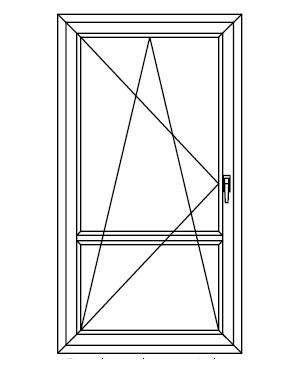 Drzwi balkonowe jednoskrzydłowe uchylno-rozwierane ze szczebliną