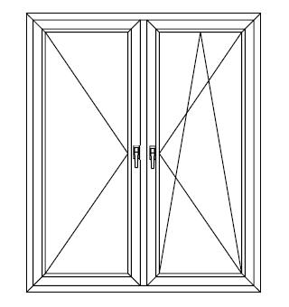 Drzwi balkonowe dwuskrzydłowe ze słupkiem stałym