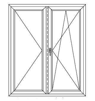 Drzwi balkonowe dwuskrzydłowe ze słupkiem ruchomym (stulp)