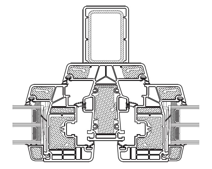 KÖMMERLING Złożenie skrzydeł i słupka stałego z lizeną (usztywniający element statyczny)