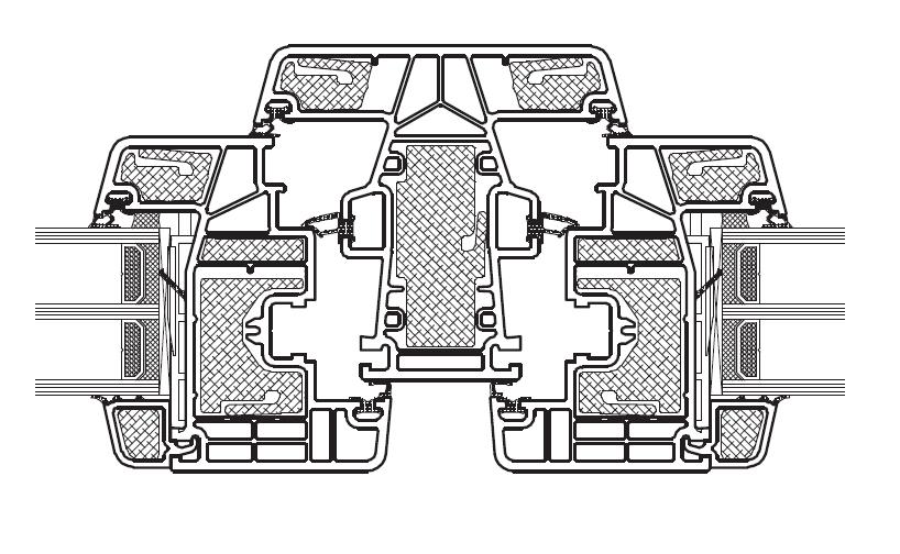 KÖMMERLING Złożenie skrzydeł i słupka stałego bez wzmocnień stalowych