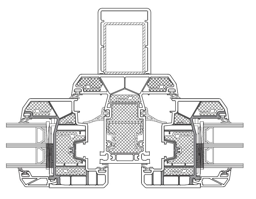 KBE Złożenie skrzydeł i słupka stałego z lizeną (usztywniający element statyczny)