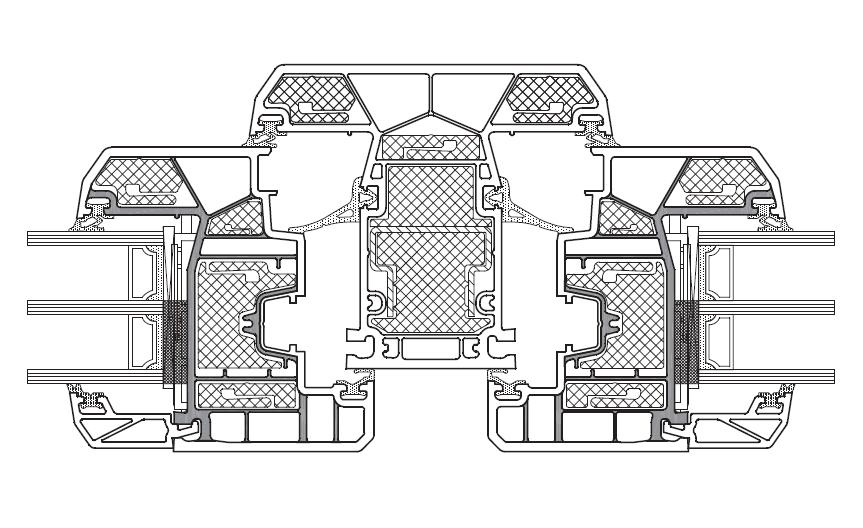 KBE Złożenie skrzydeł i słupka stałego bez wzmocnień stalowych