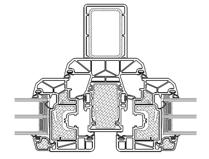 TROCAL Złożenie skrzydeł i słupka stałego z lizeną (usztywniający element statyczny)