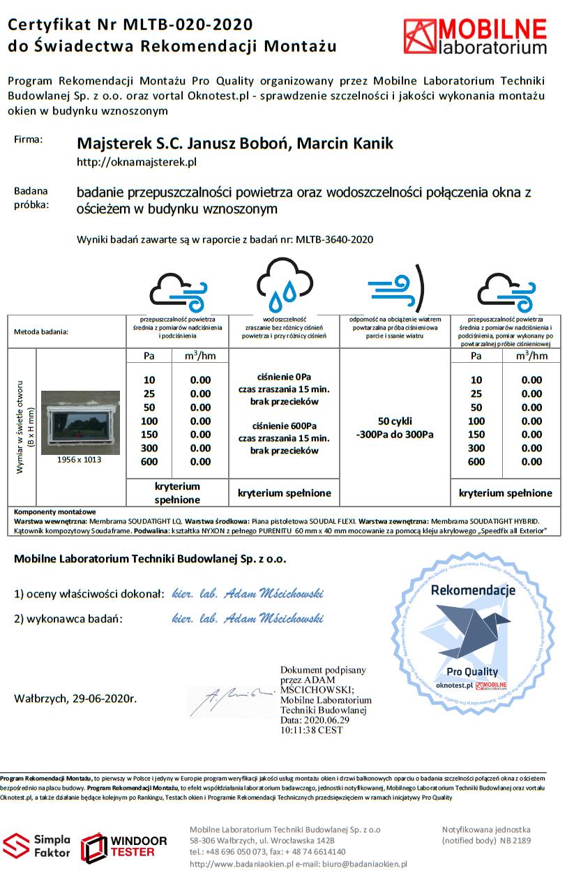 Certyfikat do świadectwa z badania wydany przez Mobilne Laboratorium Techniki Budowlanej
