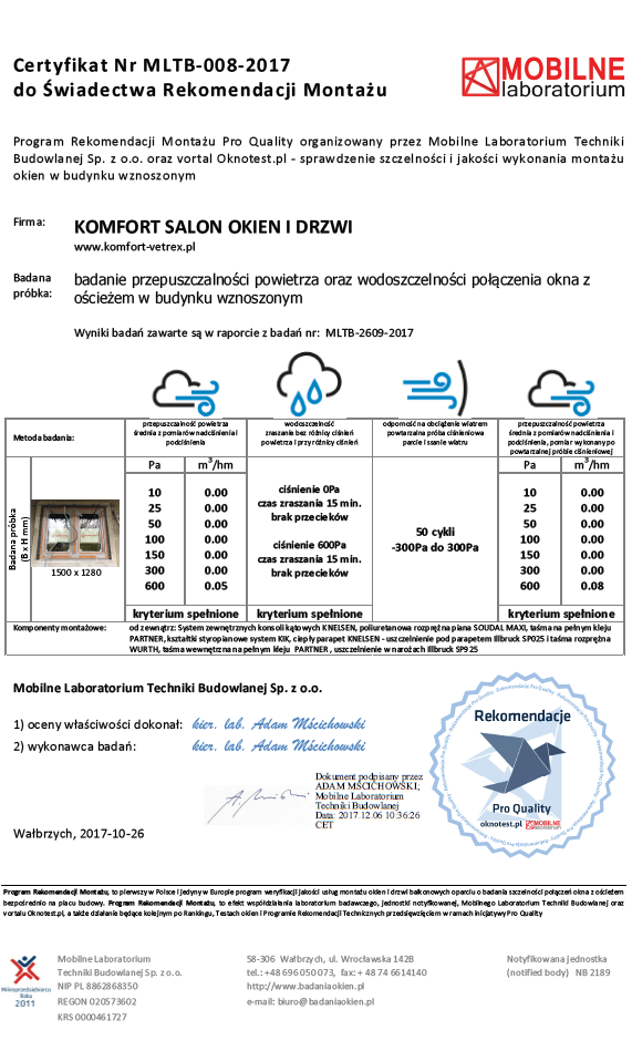 KOMFORT - certyfikat potwierdzający osiągnięte wyniki w badaniu szczelności montażu