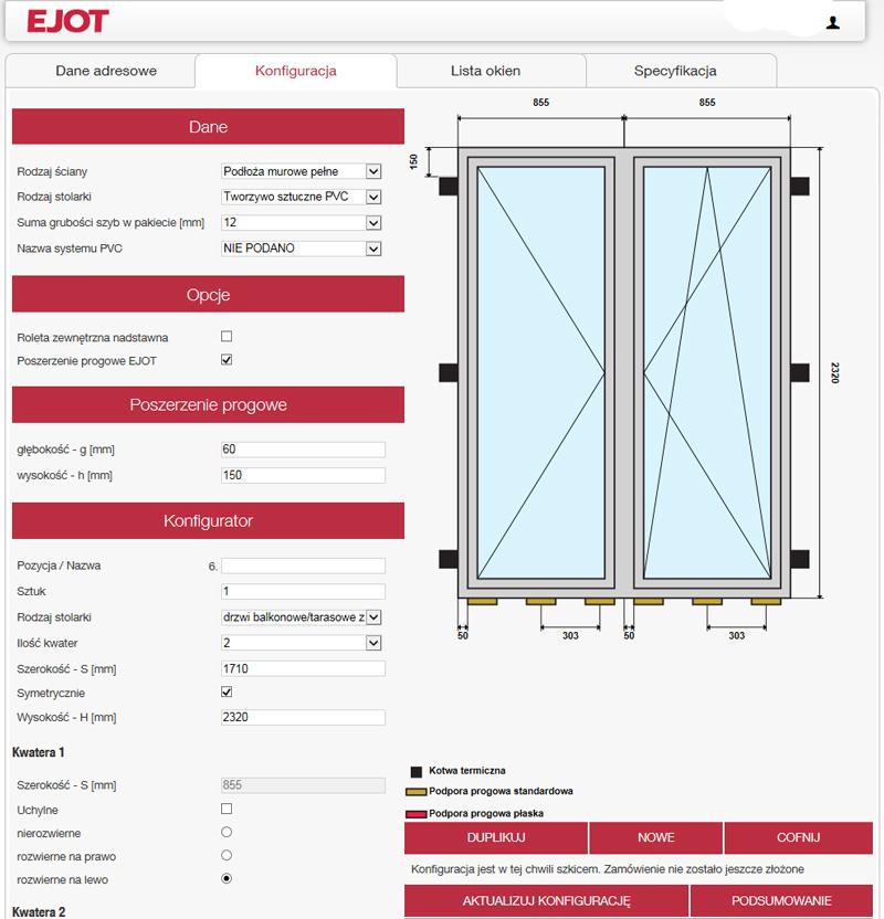 Autor: EJOT. Ustalony przez program rozkład kotew termicznych i podpór stalowych w drzwiach balkonowych dwuskrzydłowych z wysokim progiem.