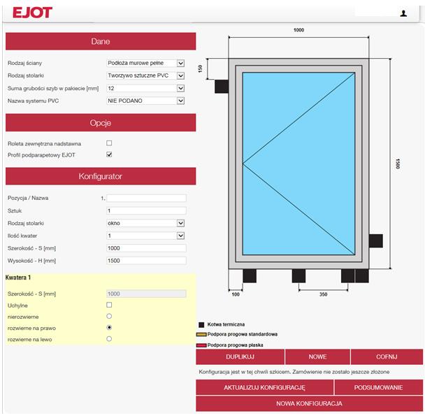 Autor: EJOT. Ustalony przez program rozkład kotew termicznych w oknie jednoskrzydłowym rozwiernym na prawo.
