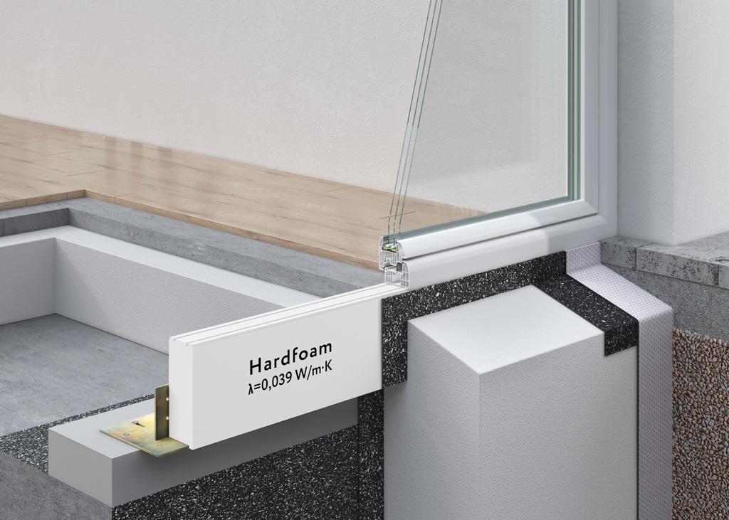 System WIMOUNT - montaż drzwi balkonowych w ociepleniu budynku z wykorzystaniem poszerzenia podprogowego z materiału Hardfoam o wsp. λ < 0,039 W/(m*K).