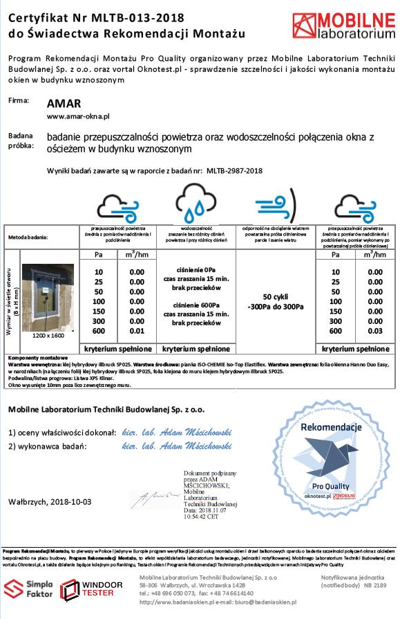 Certyfikat potwierdzający spełnienie przez firmę AMAR wymagań Programu Rekomendacji Montażu wydany przez Mobilne Laboratorium Techniki Budowlanej w Wałbrzychu