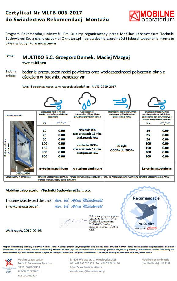 Badanie szczelności montażu. Certyfikat Mobilnego Laboratorium Techniki Budowlanej.