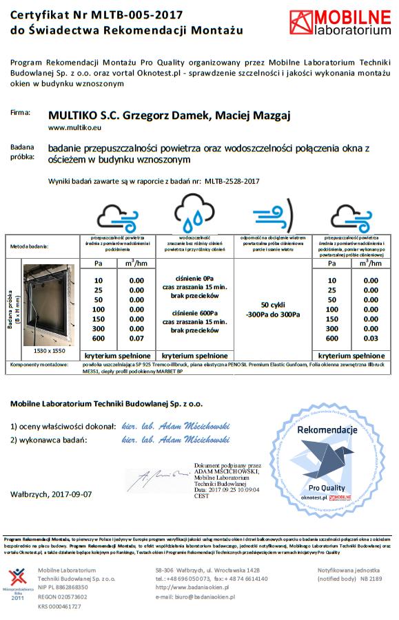 Certyfikat szczelności montażu Mobilnego Laboratorium Techniki Budowlanej stosowany w Programie Rekomendacji Montażu