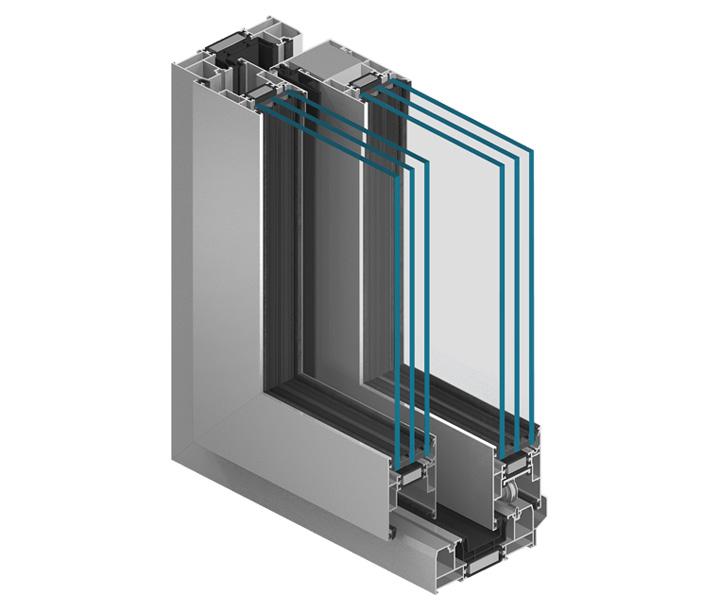 System MB-59HS smukłe i wytrzymałe kształtowniki o trzykomorowej konstrukcji, gdzie centralną część stanowi komora izolacyjna z szerokimi przekładkami termicznymi.