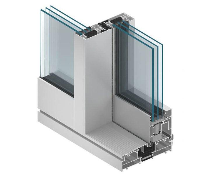 MB-77HS Budowa profili pozwala na wykonywanie ekskluzywnych drzwi o dużych gabarytach, wypełnionych szkłem jedno-lub dwukomorowym