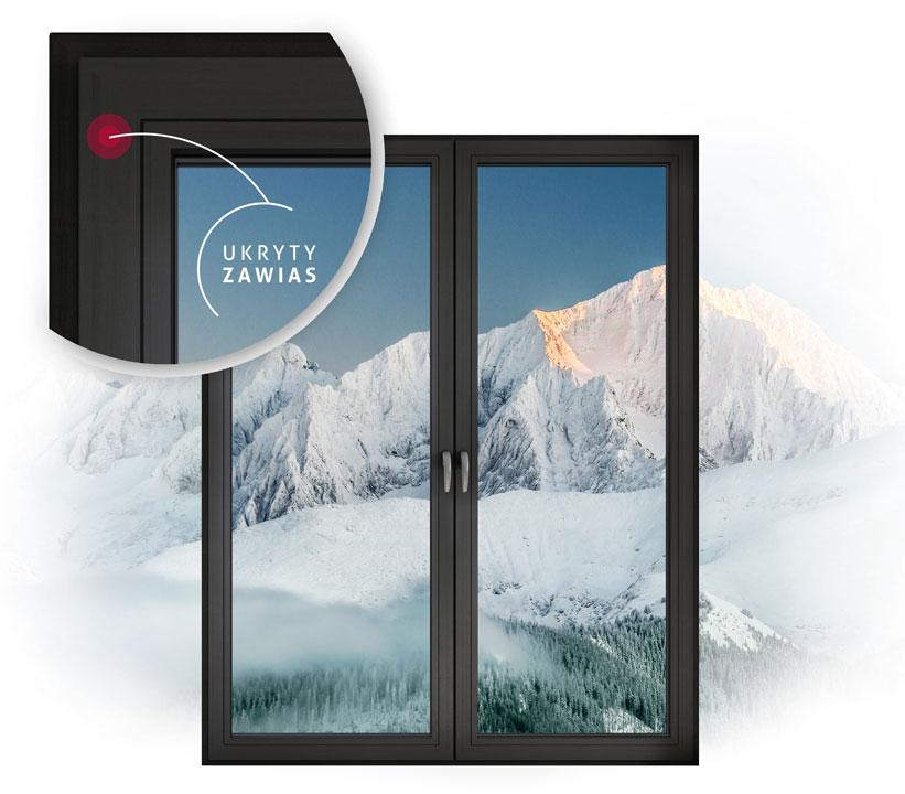 Ukryte zawiasy w oknie Vetrex