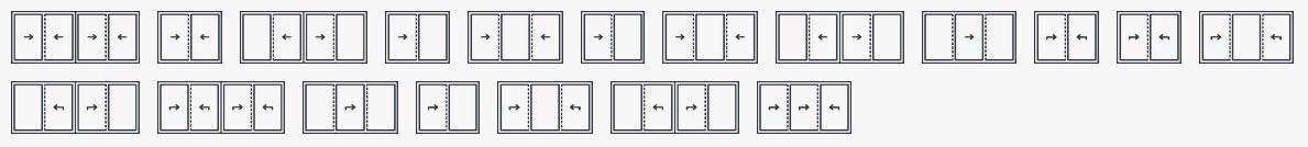 Drzwi przesuwne Reynears CF77 - schematy otwierania