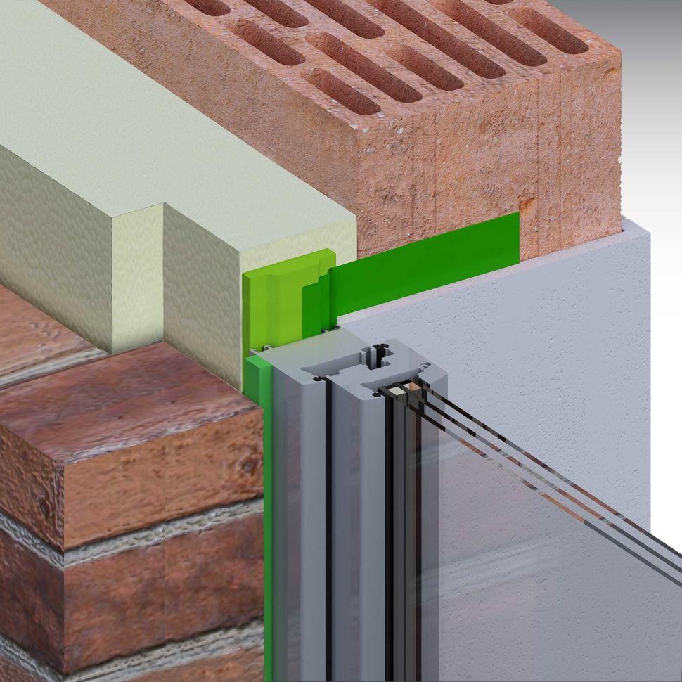 Montaż okna, uszczelnienie taśmą rozprężną w ścianie trójwarstwowej z węgarkiem