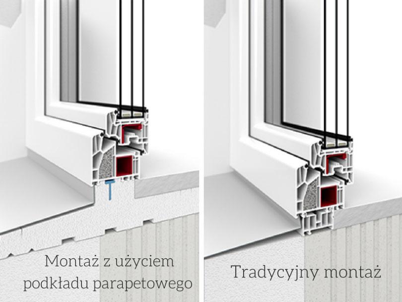 Montaż okna z użyciem podkładu podparapetowego - ciepłego parapetu
