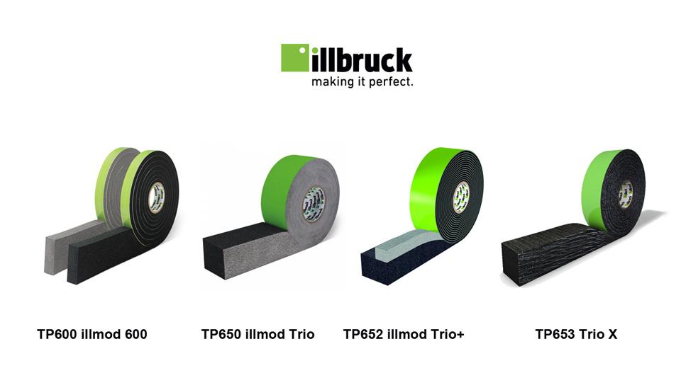 Rozprężne taśmy uszczelniające illbruck: TP600 illmod 600, TP650 illmod Trio, TP652 illmod Trio+, TP653 Trio X