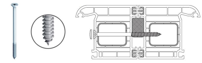 Wkręt gwintujący typu MS do łączenia okien z PVC ze sobą
