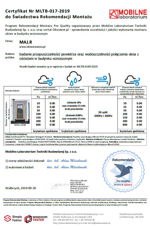 Certyfikat jednostki notyfikowanej Mobilnego Laboratorium Techniki Budowlanej potwierdzający wynik badania szczelności i jakość montażu firmy MAJ.R
