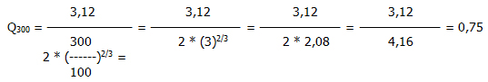 wzór na obliczanie przepuszczalności odniesienia przy ciśnienu inny od 300 PA w odniesieniu do powierzchni