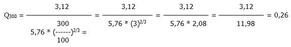 wzór na obliczanie przepuszczalności odniesienia przy ciśnienu inny od 300 PA w odniesieniu do linii stykowej