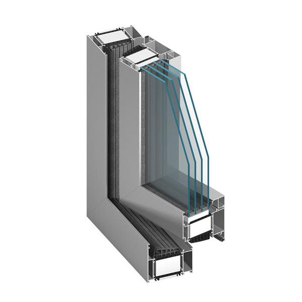 Okno aluminiowe Aluprof MB 104. Przekrój.