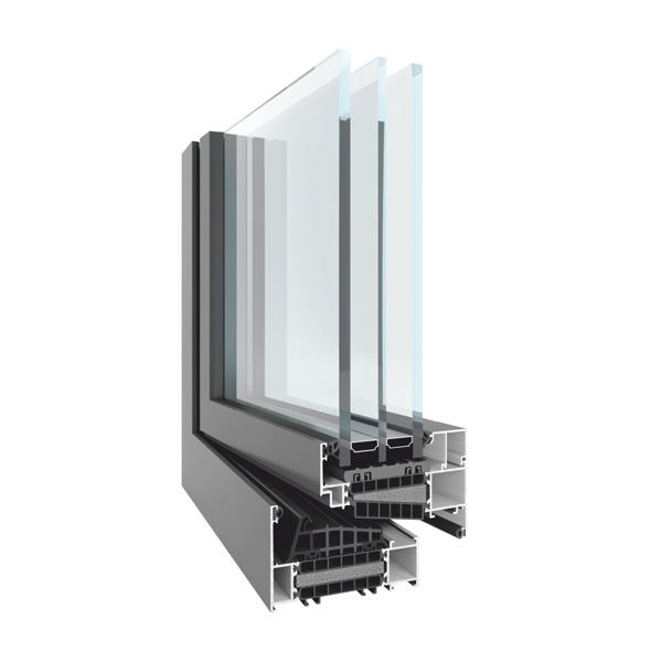 Okno aluminiowe Yawal TM 102. Przekrój.