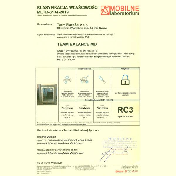 Świadectwo badań potwierdzające klasę RC3 odporności na włamanie dla okna Team Balance.