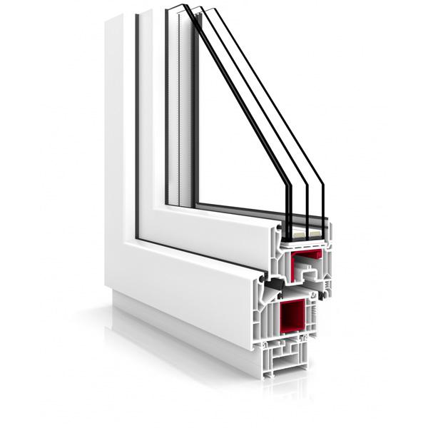 Przekrój poglądowy okna antywłamaniowego Vetrex V82 ProSafe