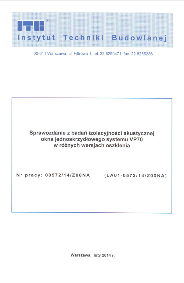 Sprawozdanie z badań izolacyjności akustycznej okna VP70