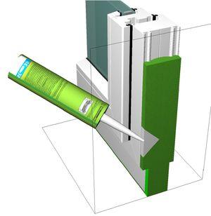 Aplikacja kleju do montażu okien SP351 (płynnego klina okiennego)