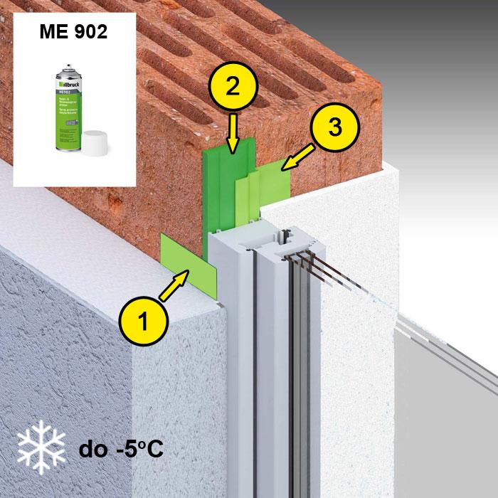 Montaż okien w niskich temperaturach do -5 stopni z wykorzystaniem folii illbruck ME508, środka grutującego ME902 oraz pianki niskoprężnej FM355