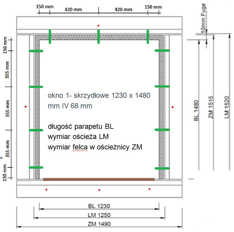 Montaż w klasie RC2/RC3 odproności na włamanie. Montaż poza licem muru w oparciu o system montazu MOWO typ 3. Kątownik PR010 o wysięgu 200mm.