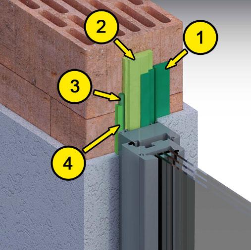 Akustyczny montaż okna z wykorzystaniem folii okiennych ME500 i ME508, pianki poliuretanowej, uszczelniacza budowlanego SP525 oraz sznura poliuretanowego PR102