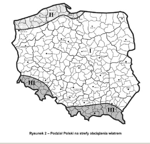 Strefy obciążenia wiatrem w Polsce. Strefy wiatrowe w Polsce. Podział Polski na strefy wiatrowe.