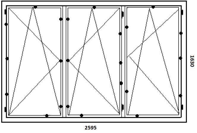 Schemat rozmieszczenia zaczepów w próbce trójdzielnego okna Passiv-line PLUS
