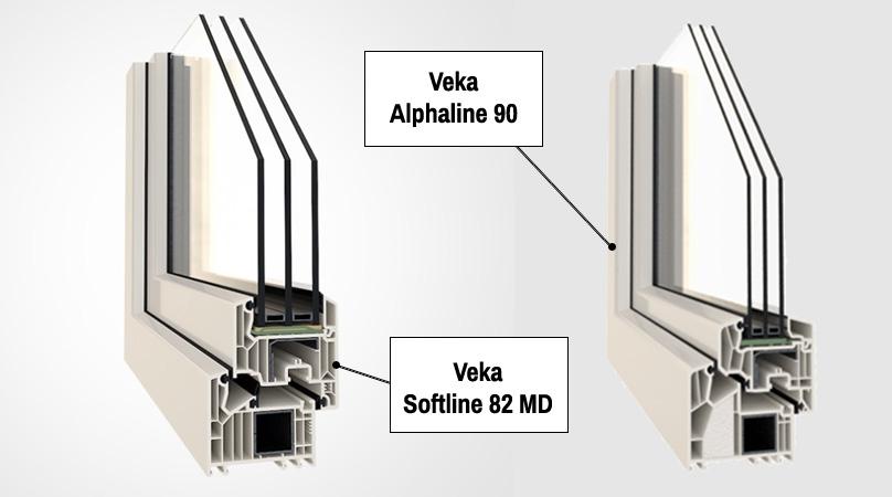 Okna Veka Softline 82. Okna Veka Alphaline 90.