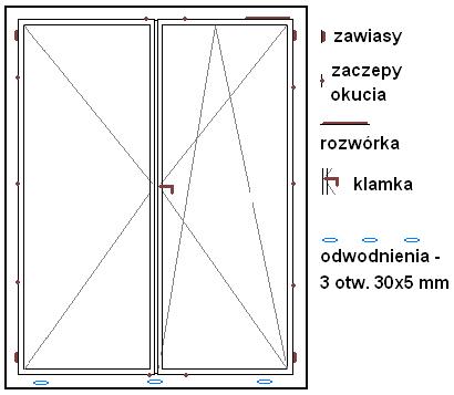 schemat okuć - drzwi balkonowe OKNOPLAST Winergetic Premium