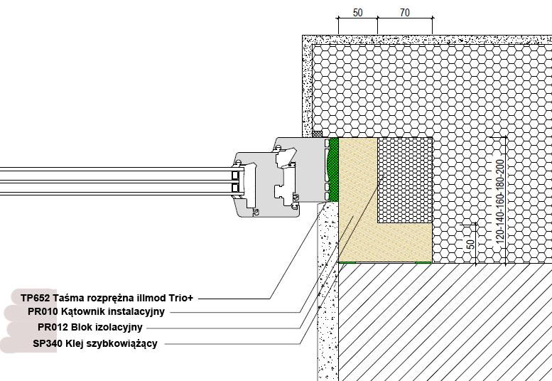 Boczne uszczelnienie złącza okiennego illbruck MOWO typ III w ścianie dwuwarstwowej