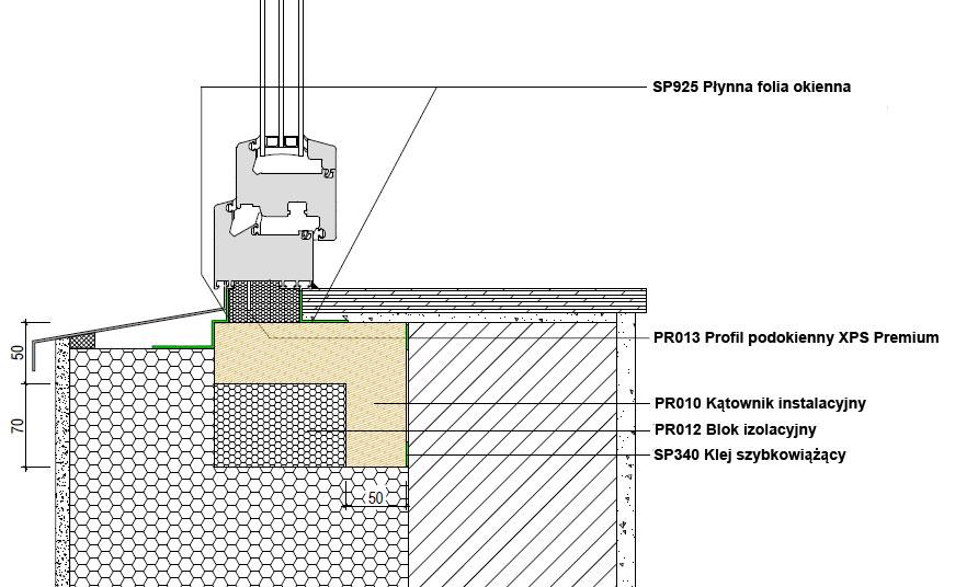 Dolne uszczelnienie złącza okiennego w ścianie dwuwarstwowej. Kombinacja środków uszczelniających. illbruck MOWO typ III
