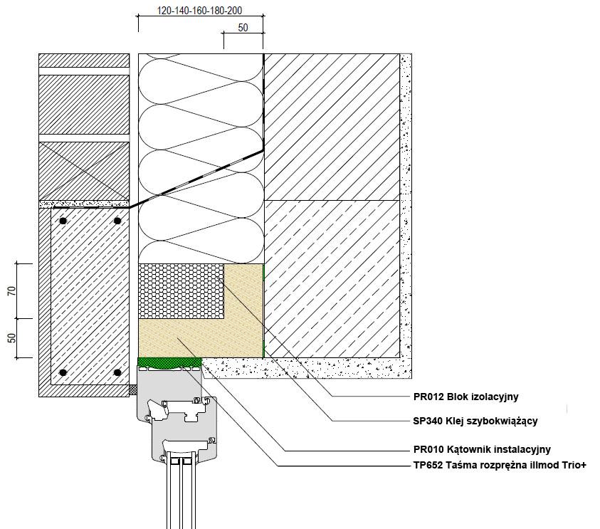 Górne uszczelnienie złącza okiennego illbruck MOWO typ III w ścianie trójwarstwowej