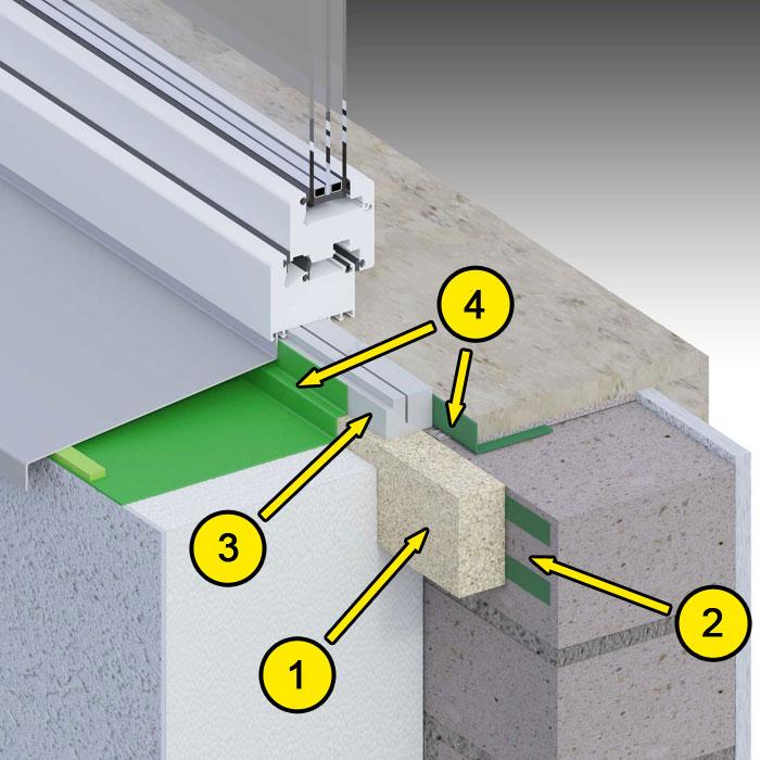 Dolne uszczelnienie złącza okiennego. Kombinacja środków uszczelniających. illbruck MOWO typ I