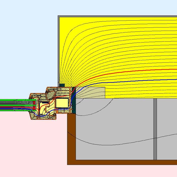 Przebieg izoterm dla bocznego uszczelnienia złącza okiennego illbruck MOWO typ I