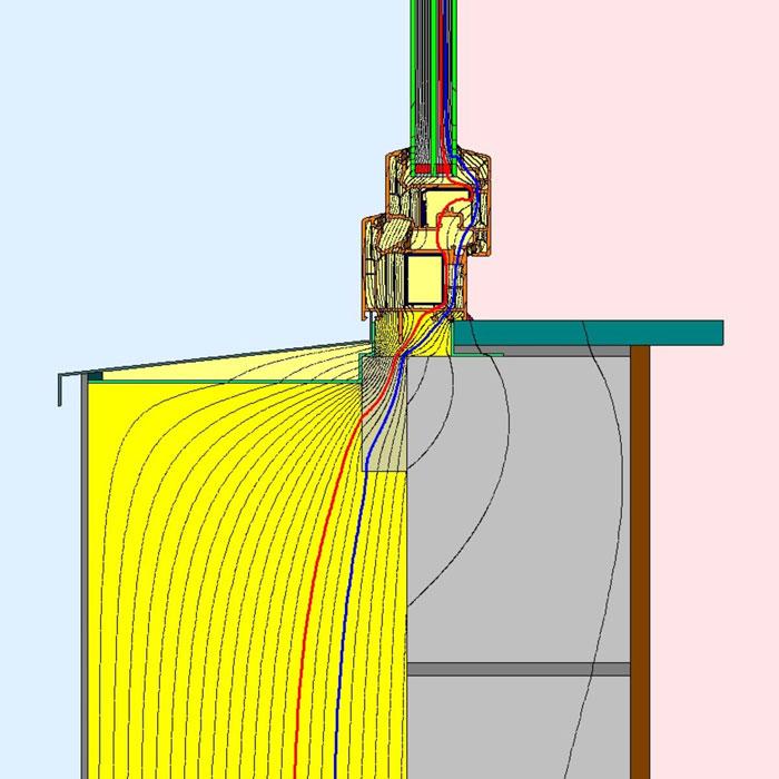 Przebieg izoterm dla dolnego uszczelnienia złącza okiennego illbruck MOWO typ I