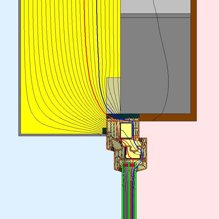 Przebieg izoterm dla górnego uszczelnienia złącza okiennego illbruck MOWO typ I