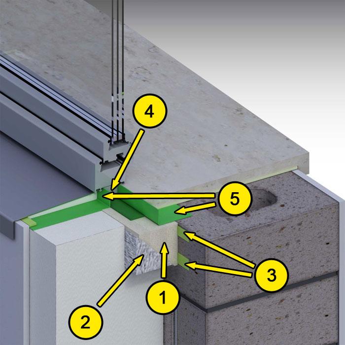 Dolne uszczelnienie złącza okiennego. Kombinacja środków uszczelniających. illbruck MOWO typ II