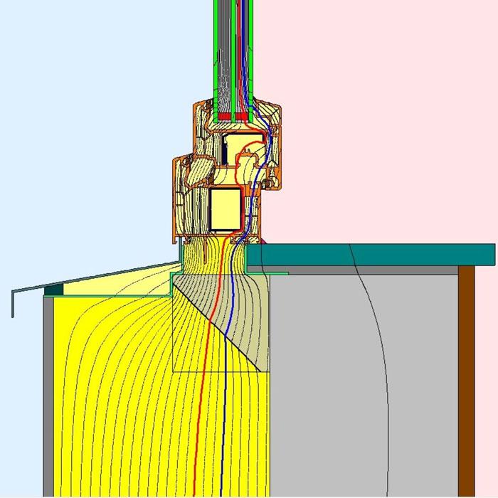 Przebieg izoterm dla dolnego uszczelnienia złącza okiennego illbruck MOWO typ II